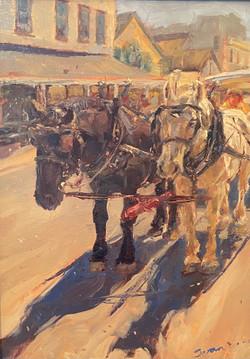"""Oil- """"Horses Standing"""""""