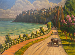 """Oil- """"Boardwalk and the West Bluff"""""""