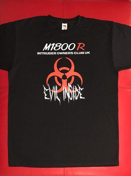 M1800R Red Evil Inside Log on Black T-Shirt