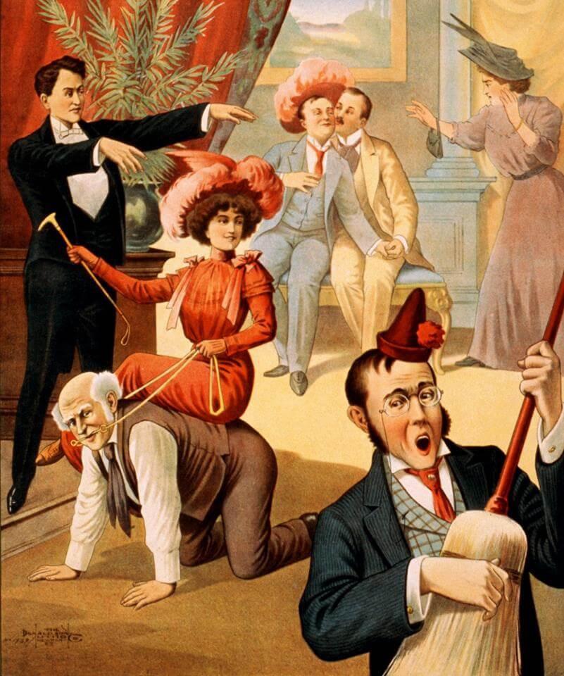 Démonstration d'hypnose de spectacle autour de 1900