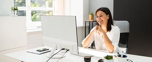 Young Happy Business Woman In Video Conf