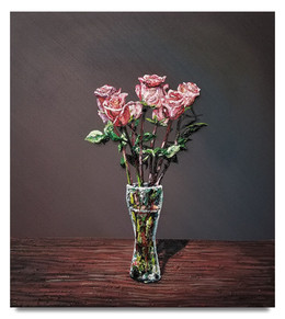 """Roses in Beer glass, 2019 Oil on canvas 33.25"""" x 30"""""""
