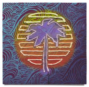 """Sunset on Purple Waves, 2020 Oil on plywood 19.5"""" x 20.25"""""""