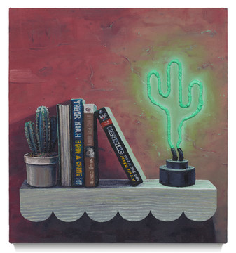 """Cacti and Books, 2020 Oil on canvas 21.5"""" x 19.5"""""""