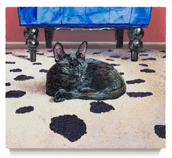 """Cat on Rug, 2018 Oil on canvas 21"""" x 24.25"""""""