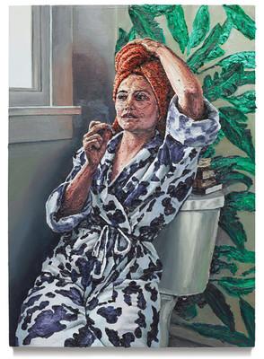 """Ava in the bathroom, 2019 Oil on canvas 40.75"""" x 29.25"""""""
