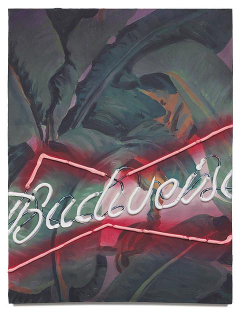 "Budweiser, 2020 Oil on plywood 19.63"" x 15"""