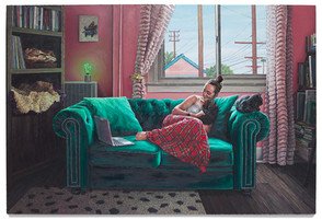 """Ava by the window, 2019 Oil on canvas 74"""" x 109"""""""