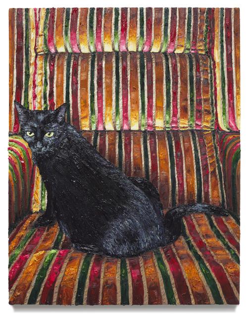 """Kitty on Saba's Chair, 2019 Oil on canvas 33.25"""" x 26"""""""
