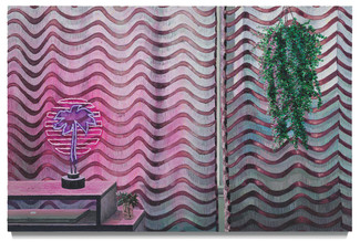 """Neon Sunset, 2020 Oil on canvas 43.5"""" x 67.5"""""""