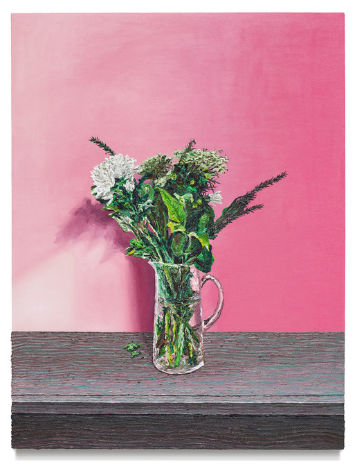 """Bouquet in pitcher, 2019 Oil on canvas 39"""" x 29.75"""""""