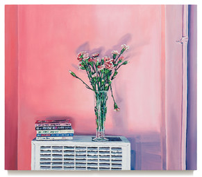 """Carnations in Beer Glass, 2018 Oil on canvas 35"""" x 40.75"""""""