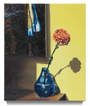 "Still life with Vermeer, 2020 Oil on canvas 21"" x 18"""