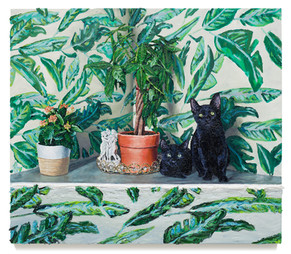 """Money tree and cats, 2018 Oil on canvas 36"""" x 41"""""""