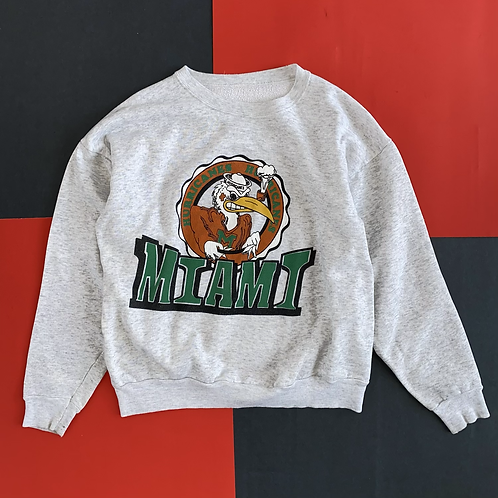 VINTAGE MIAMI HURRICANES HEATHER GREY CREWNECK