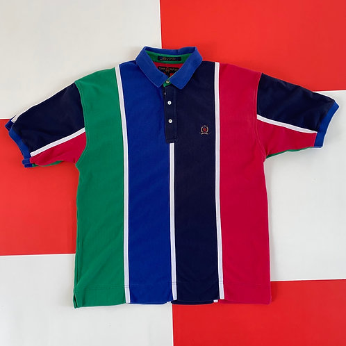 VINTAGE TOMMY HILFIGER COLOR BLOCK STRIPED POLO SHIRT