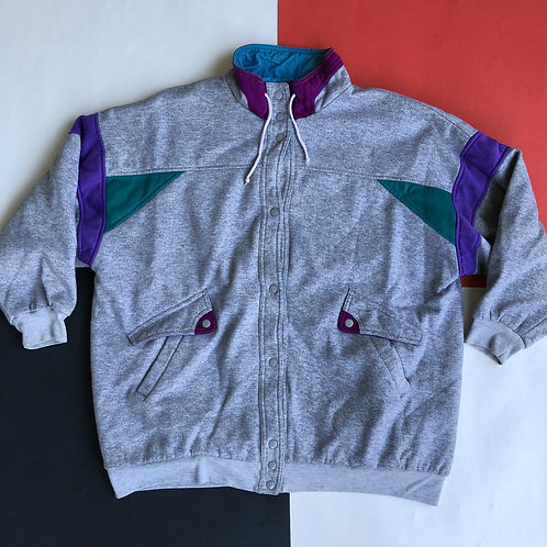 VINTAGE REVERSIBLE COLOR BLOCK BUTTON UP JACKET