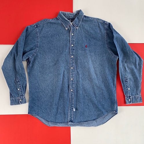 VINTAGE POLO RALPH LAUREN DENIM BUTTON UP SHIRT
