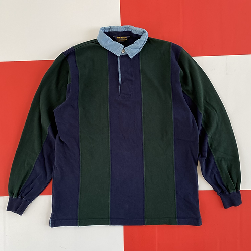 VINTAGE COLOR BLOCK LONG SLEEVE RUGBY POLO