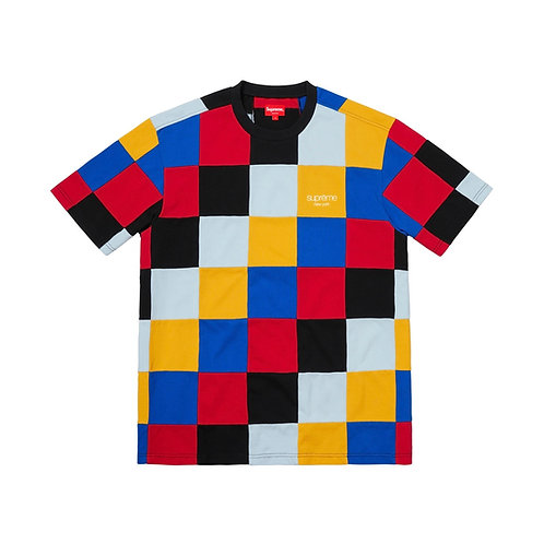 SUPREME FW18 PATCHWORK PIQUE TEE RED/YELLOW/BLUE