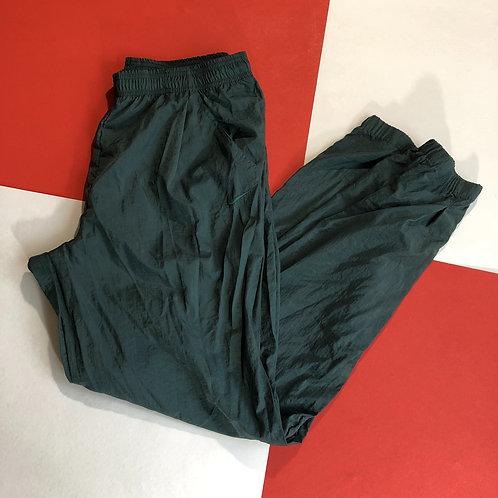 VINTAGE NIKE WHITE TAG GREEN NYLON TRACK PANTS