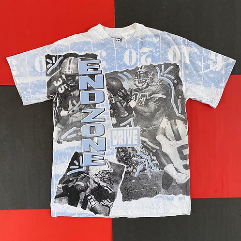 VINTAGE END ZONE DRIVE FOOTBALL ALL OVER PRINT TEE BLUE