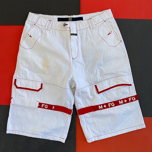 VINTAGE GIRBAUD STRAPS JEAN SHORTS WHITE RED