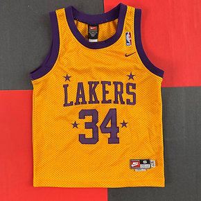 NIKE LAKERS SHAQUILLE O'NEAL THROWBACK BASKETBALL JERSEY
