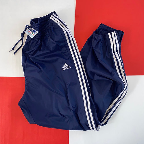 VINTAGE ADIDAS 3 STRIPES NAVY NYLON TRACK PANTS