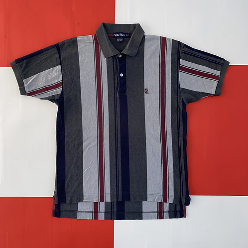 VINTAGE NAUTICA VERTICAL STRIPED POLO GREY