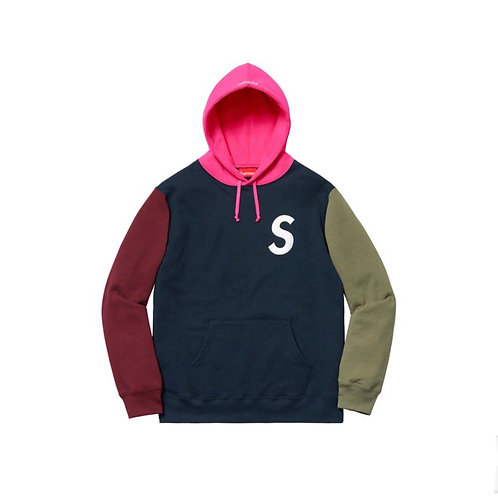 SUPREME SS19 S LOGO COLORBLOCKED HOODED SWEATSHIRT NAVY