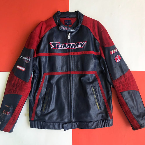 VINTAGE TOMMY JEANS LEATHER MOTORCYCLE JACKET