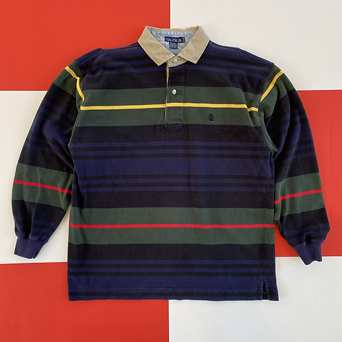 VINTAGE NAUTICA STRIPED RUGBY POLO