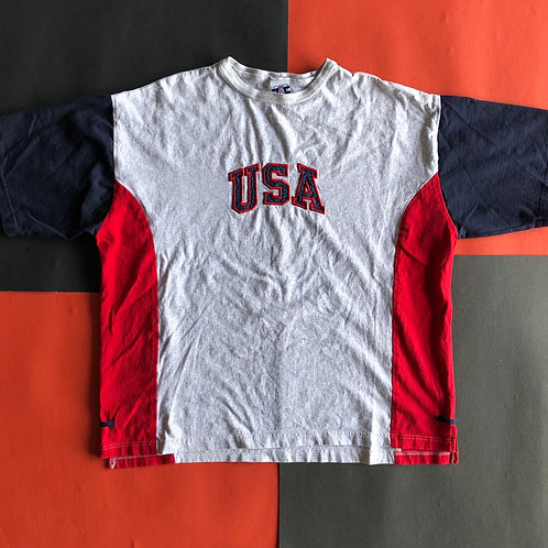VINTAGE USA EMBROIDERED COLOR BLOCK TEE