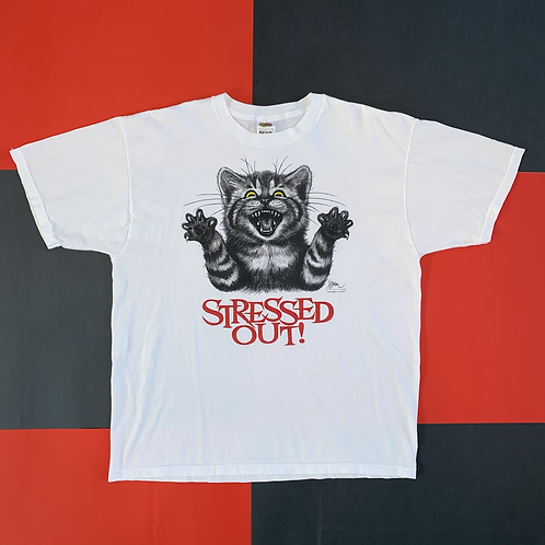 VINTAGE 1998 STRESSED OUT CAT TEE
