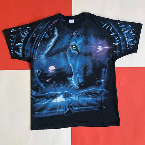 2001 LIQUID BLUE WOLF ALL OVER PRINT TEE