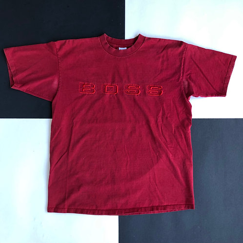 VINTAGE BOSS EMBROIDERED SPELLOUT LOGO SINGLE STITCHED TEE