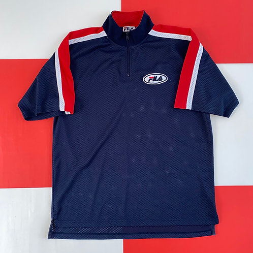 VINTAGE FILA QUARTER ZIP STRIPED MESH SHIRT