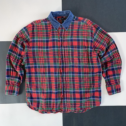 DENIM COLLAR PLAID FLANNEL BUTTON UP