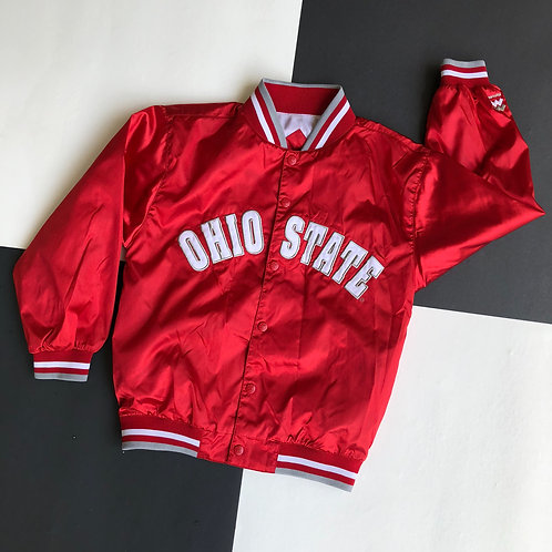 VINTAGE MIGHTY MAC OHIO STATE  EMBROIDERED SPELLOUT LOGO RED SATIN JACKET