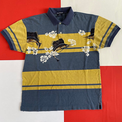 VINTAGE NAUTICA FISH COLOR BLOCK POLO SHIRT