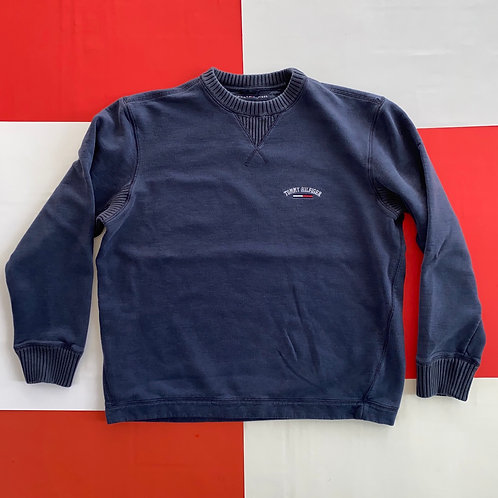 TOMMY HILFIGER EMBROIDERED SPELLOUT ARC LOGO SWEATSHIRT