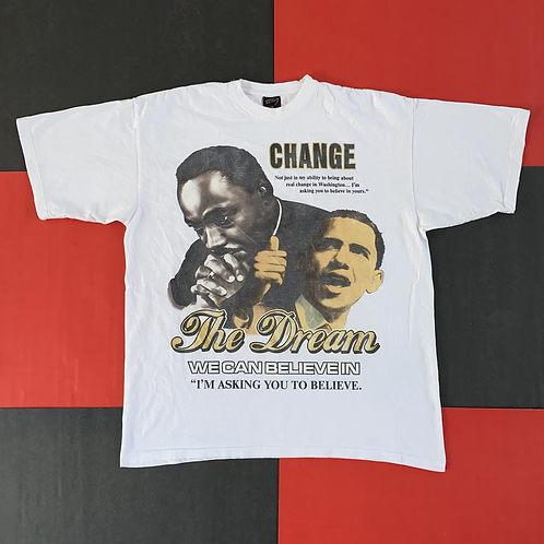 VINTAGE MLK OBAMA BELIEVE IN CHANGE TEE