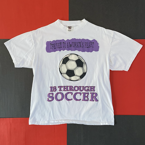 VINTAGE THE KEY TO A WOMAN'S HEART IS SOCCER TEE
