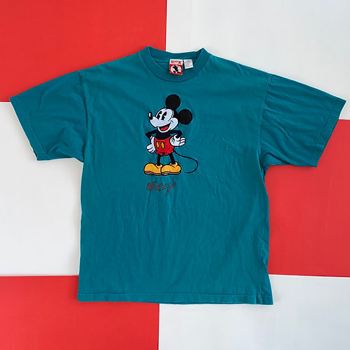 DISNEY MICKEY MOUSE EMBROIDERED TEE TEAL