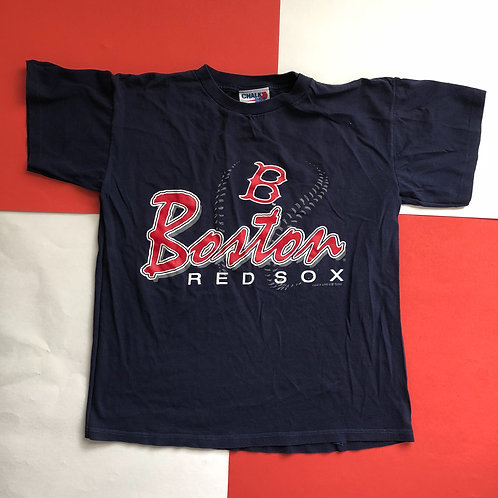 VINTAGE 1995 CHALK LINE MLB BOSTON RED SOX  BASEBALL SINGLE STITCHED NAVY TEE