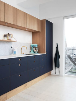 Façade bleue cuisine BOCKLIP