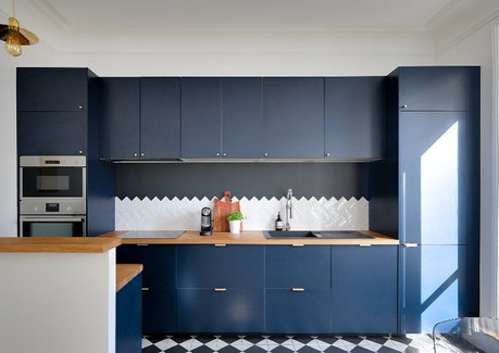 Façade cuisine bleue BOCKLIP