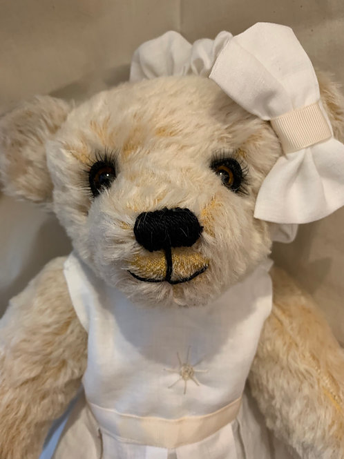 Bear Couture - White and cream summer linen dress & headband