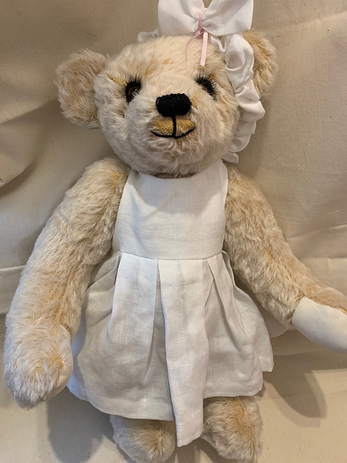 Bear Couture - White linen dress and headband